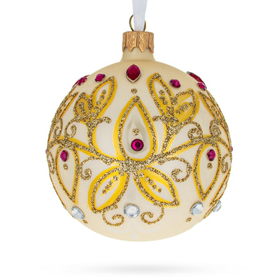 Golden Leaves Glass Ball Christmas Ornament by BestPysanky