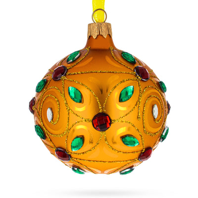 Multicolored Bejeweled Golden Glass Ball Christmas Ornament by BestPysanky