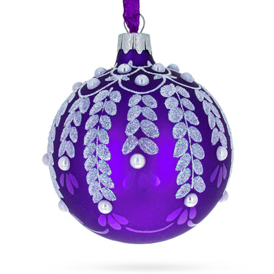 White Vines on Purple Glass Ball Christmas Ornament by BestPysanky