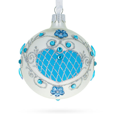 Turquoise Glass Ball Christmas Ornament by BestPysanky