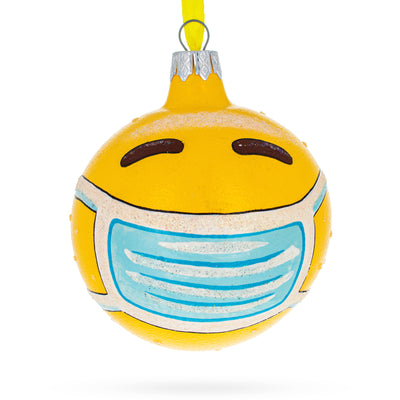 Emoji in Quarantine Wearing Mask Glass Ball Christmas Ornament by BestPysanky