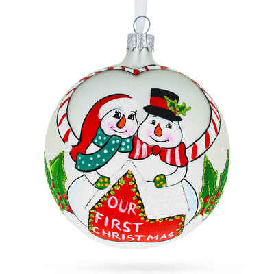 Our First Christmas Snowmen Glass Ball Christmas Ornament 4 Inches by BestPysanky