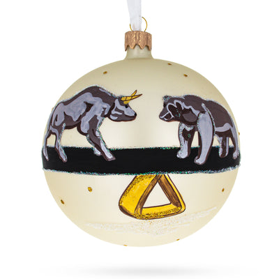 Bear and Bull Stock Market Glass Ball Christmas Ornament 4 Inches by BestPysanky