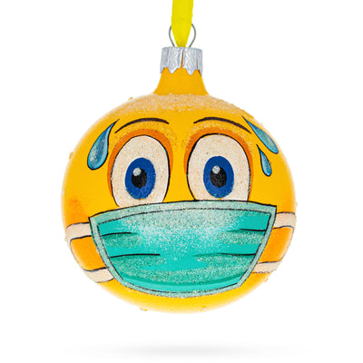 Emoji Face in Mask Glass Ball Christmas Ornament by BestPysanky