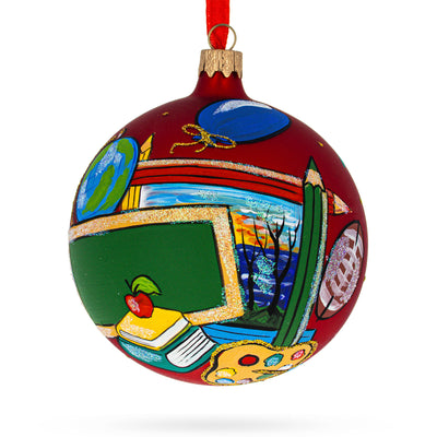Back to School Glass Ball Christmas Ornament 4 Inches by BestPysanky