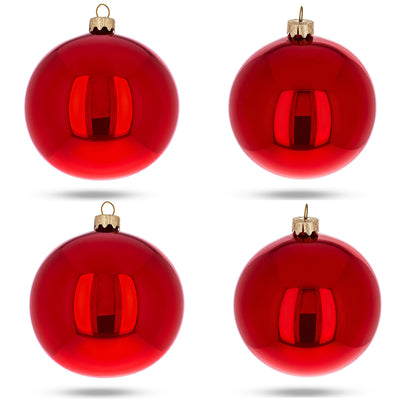 Set of 4 Red Glossy Glass Ball Christmas Ornaments 4 Inches by BestPysanky