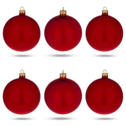 Set of 6 Matte Red Glass Ball Christmas Ornaments 3.25 Inches by BestPysanky