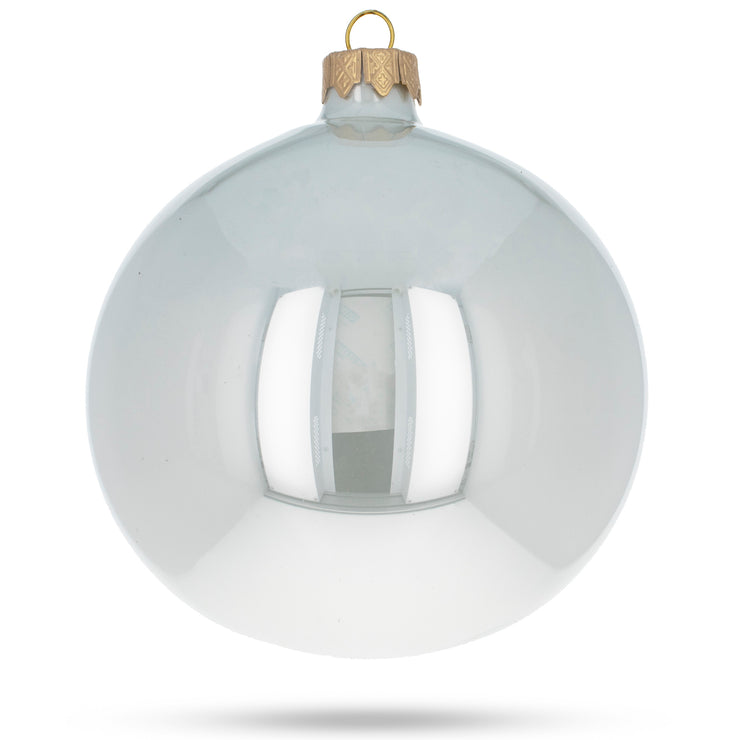 Buy Online Gift Shop Set of 4 Glossy White Glass Ball Christmas Ornaments 4 Inches