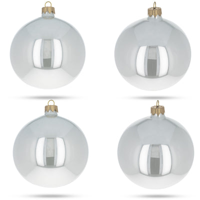Set of 4 Glossy White Glass Ball Christmas Ornaments 4 Inches by BestPysanky