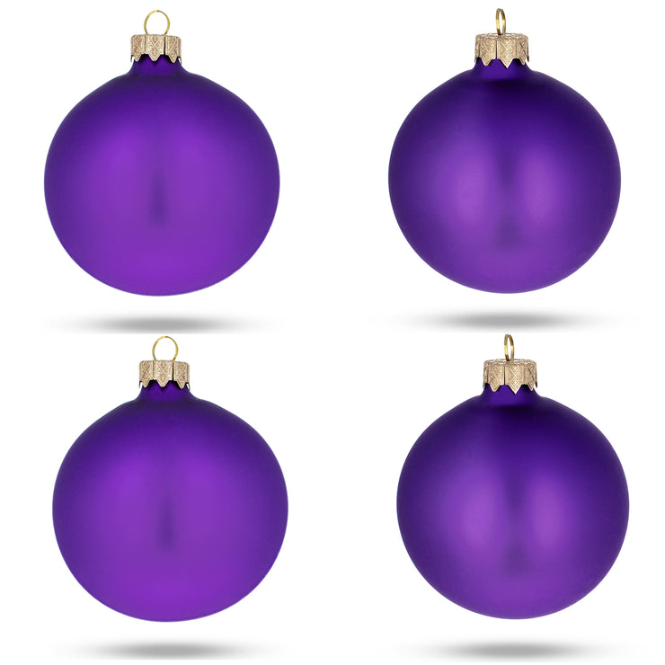 Set of 4 Purple Matte Glass Ball Christmas Ornaments 4 Inches by BestPysanky