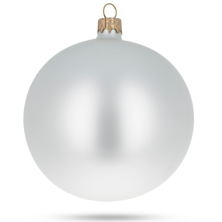 Buy Online Gift Shop Set of 4 White Matte Glass Ball Christmas Ornaments 4 Inches