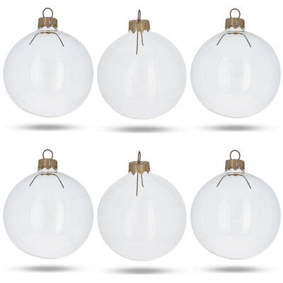 Set of 6 Clear Glass Ball Christmas Ornaments DIY Craft 3.25 Inches by BestPysanky