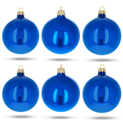 Set of 6 Glossy Blue Glass Ball Christmas Ornaments 3.25 Inches by BestPysanky