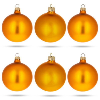 Set of 6 Matte Gold Glass Ball Christmas Ornaments 3.25 Inches by BestPysanky