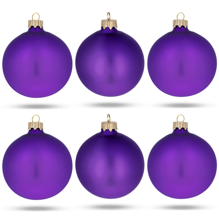 Set of 6 Purple Matte Glass Ball Christmas Ornaments 3.25 Inches by BestPysanky