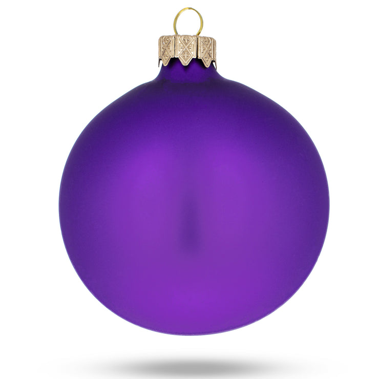 Buy Online Gift Shop Set of 4 Purple Matte Glass Ball Christmas Ornaments 4 Inches