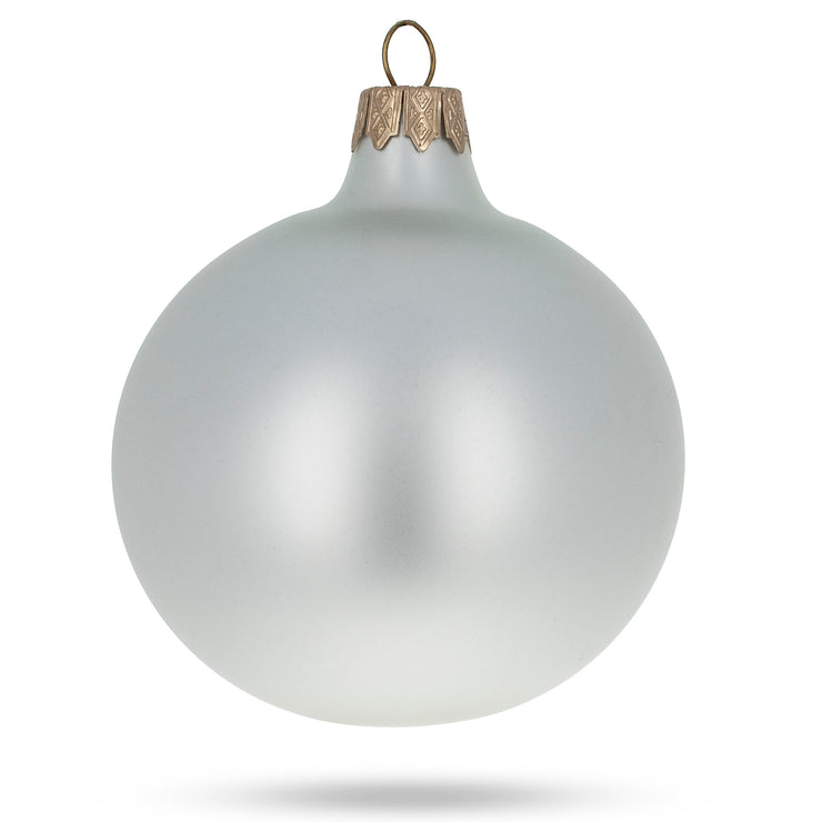 Buy Online Gift Shop Set of 6 Matte White Glass Ball Christmas Ornaments 3.25 Inches