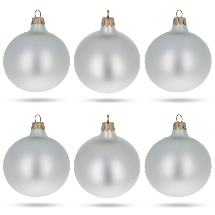 Set of 6 Matte White Glass Ball Christmas Ornaments 3.25 Inches by BestPysanky