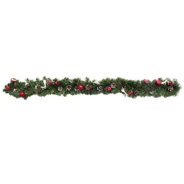 Ukrainian Christmas Garland w. Straw Bows, Apples & Pine Cones 59 Inches