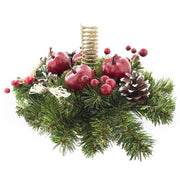 Ukrainian Candle Holder Decoration with Straw Bow, Apples & Pine Cones 16 Inches
