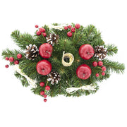 Buy Online Gift Shop Ukrainian Candle Holder Decoration with Straw Bow, Apples & Pine Cones 16 Inches