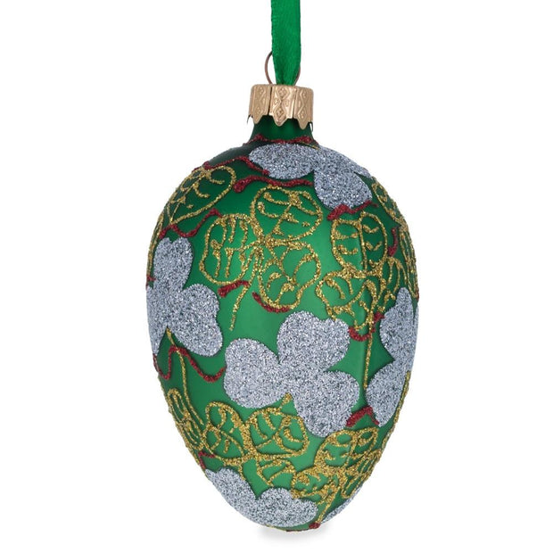 1902 Clover Leaf Royal Egg Glass Christmas Ornament by BestPysanky
