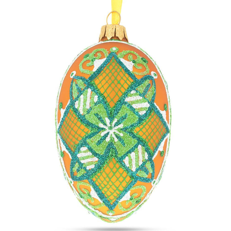The Green Star Ukrainian Pysanka Glass Egg Ornament by BestPysanky