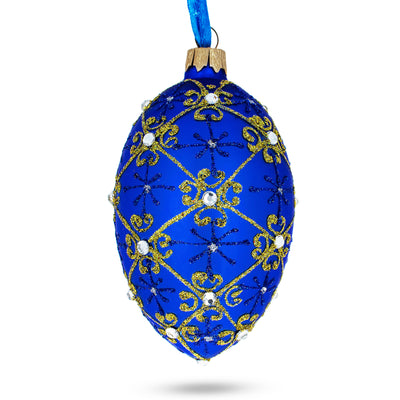 Jeweled Trellis On Blue Glass Egg Ornament by BestPysanky