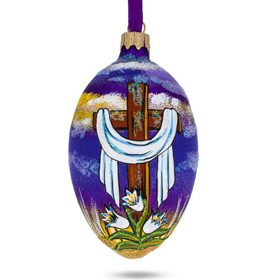 The Rising Cross Egg Glass Ornament by BestPysanky