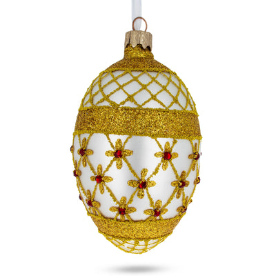 Gold Stars On Trellis Egg Glass Ornament by BestPysanky