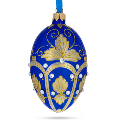 Golden Pearls on Blue Guilloche Glass Egg Christmas Ornament by BestPysanky