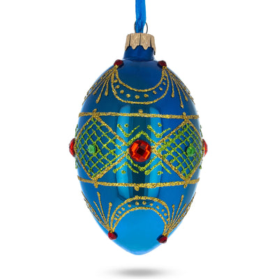 Jeweled Red Ruby on Blue Glass Egg Ornament by BestPysanky