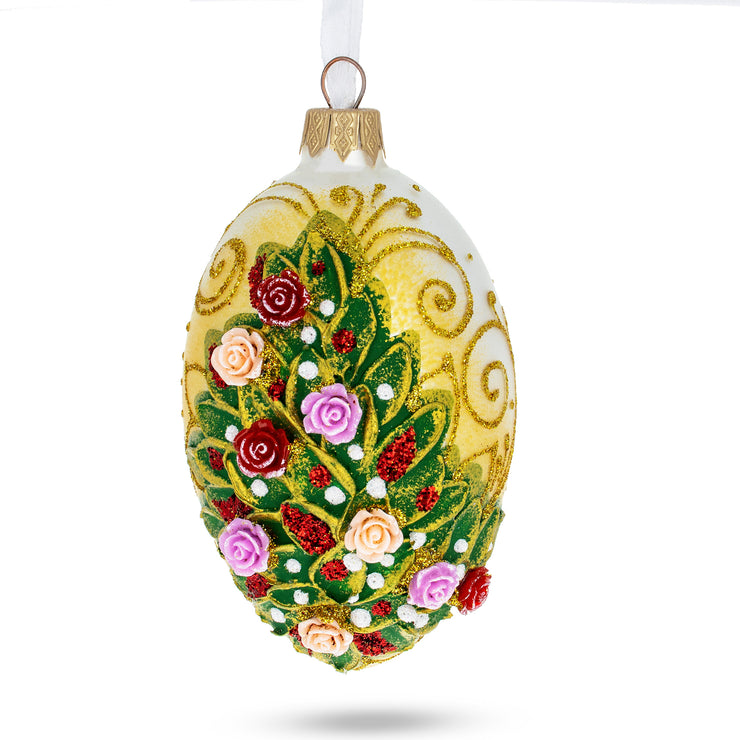 Embossed Roses Bouquet Glass Egg Ornament by BestPysanky