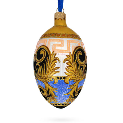 Italian Designer Fine Medallion Glass Egg Christmas Ornament by BestPysanky