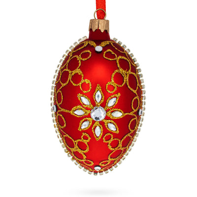 Diamond Star on Red Glass Egg Christmas Ornament by BestPysanky