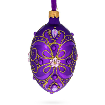 Gold on Purple Glass Egg Christmas Ornament by BestPysanky