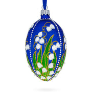1898 Lilies of the Valley Royal in Blue Egg Glass Egg Christmas Ornament by BestPysanky