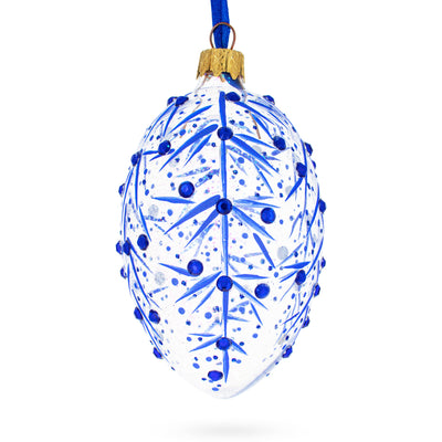 Blue Branches Glass Egg Christmas Ornament by BestPysanky