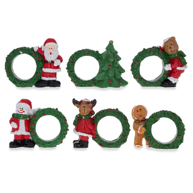 Set of 6 Santa, Snowman, Reindeer Christmas Wreath Napkin Rings 2.5 Inches by BestPysanky