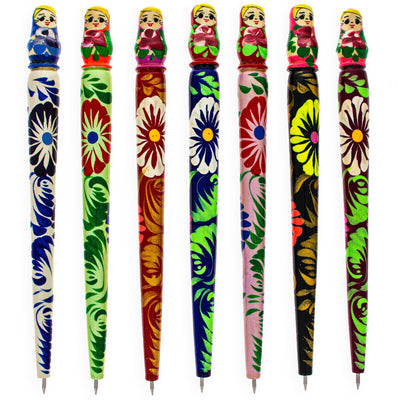 Russian Matryoshka Wooden Pen (1 Random Design) by BestPysanky