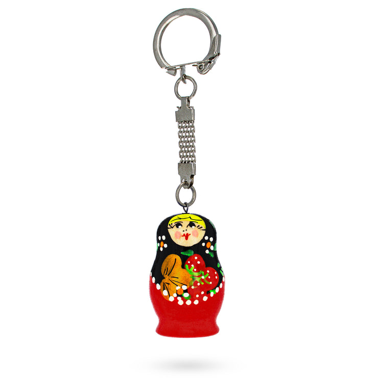 Khokhloma Painting Russian Matryoshka Wooden Key Chain by BestPysanky