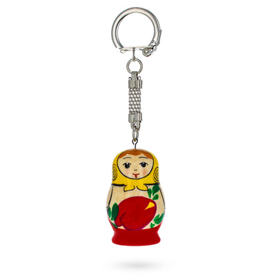 Floral Painting Russian Matryoshka Wooden Key Chain by BestPysanky