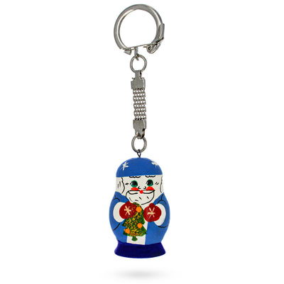 Blue Russian Santa Ded Moroz with Christmas Tree Wooden Key Chain by BestPysanky