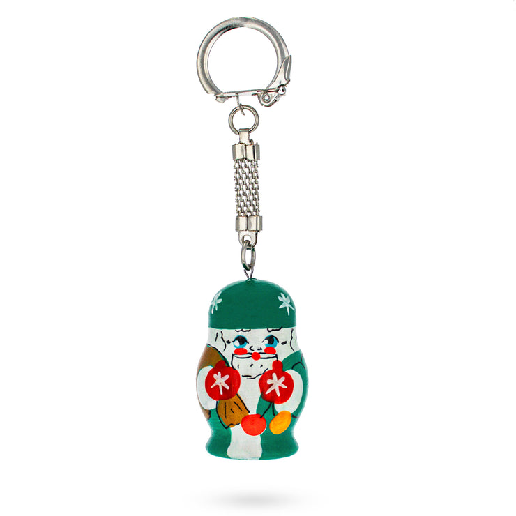 Russian Santa Ded Moroz with Presents Wooden Key Chain by BestPysanky