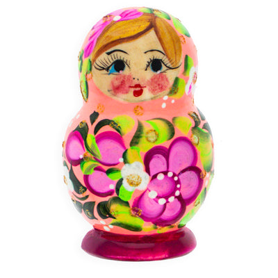 Beautiful Wooden Matryoshka Pink with Purple Flowers Russian Nesting Dolls by BestPysanky