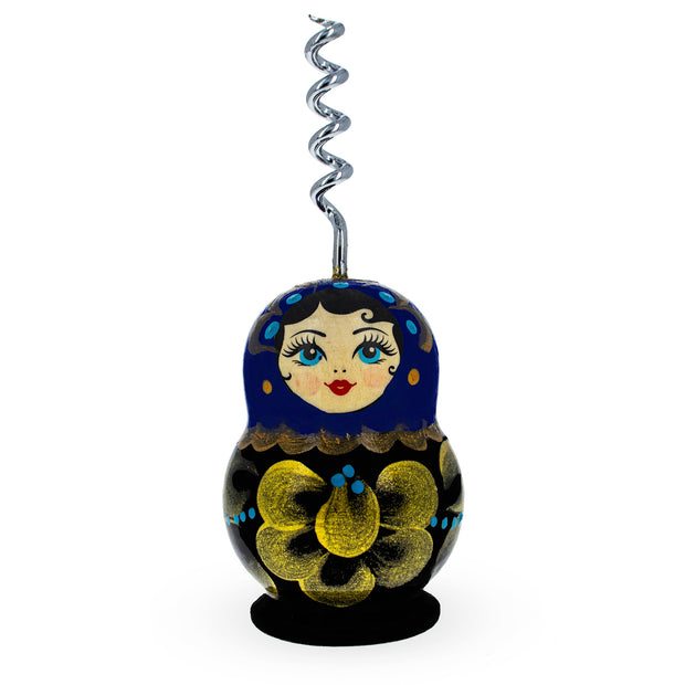 Dark Blue Wooden Russian Matryoshka Metal Corkscrew Wine Bottle Opener by BestPysanky