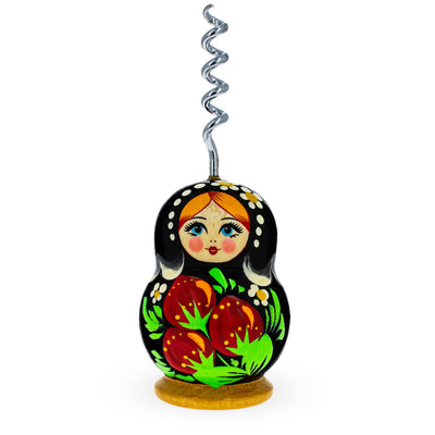 Strawberry Wooden Russian Matryoshka Metal Corkscrew Wine Bottle Opener by BestPysanky