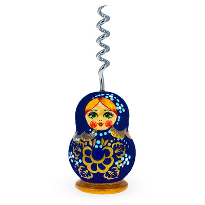 Blue Wooden Russian Matryoshka Metal Corkscrew Wine Bottle Opener by BestPysanky
