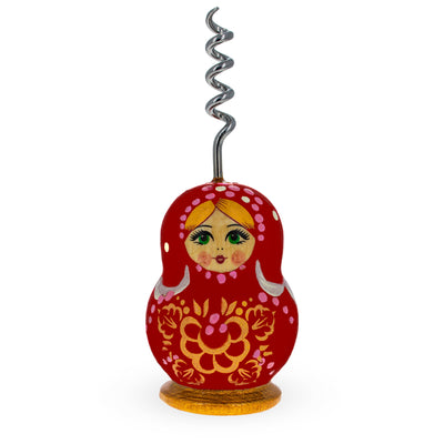 Red Wooden Russian Matryoshka Metal Corkscrew Wine Bottle Opener by BestPysanky
