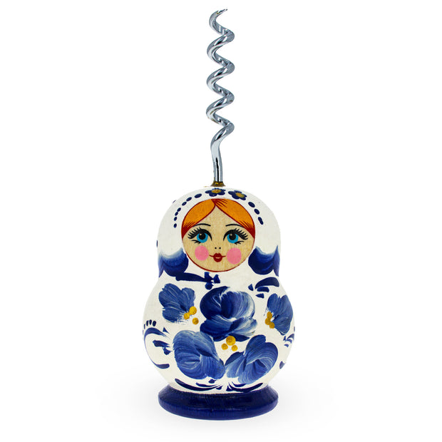 Blue Flowers Russian Matryoshka Wooden Bottle Opener by BestPysanky